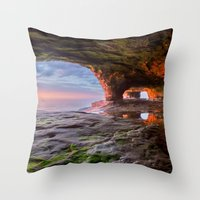Sea Cave Sunset on Lake Superior Throw Pillow