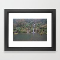 Zen Waterfall In Portlan… Framed Art Print