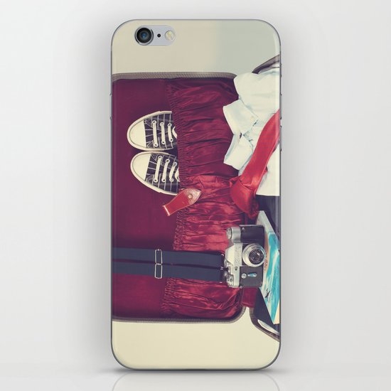 Vintage Journey Suitcase (His) (Retro and Vintage Still Life Photography) iPhone & iPod Skin