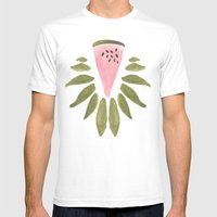 Watermelon and Leaves Mens Fitted Tee White SMALL