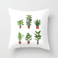 Watercolor Plant Collection Throw Pillow