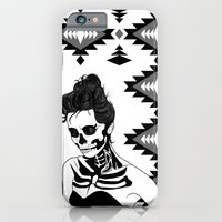 iPhone & iPod Case featuring Lady Skull Aztec by Aurelie Scour
