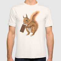 Super squirrel. Mens Fitted Tee Natural SMALL