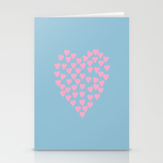 Hearts Heart Pink on Blue Stationery Card