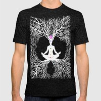 Tree of Life White Mens Fitted Tee Tri-Black SMALL