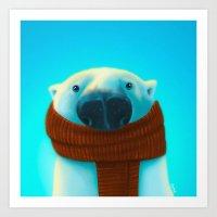 Polar Bear With Scarf Art Print