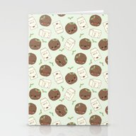 Cute Cookies And Milk Fo… Stationery Cards