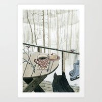 Winter Breakfast On The … Art Print
