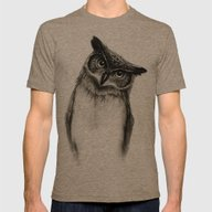 Owl Sketch Mens Fitted Tee Tri-Coffee LARGE