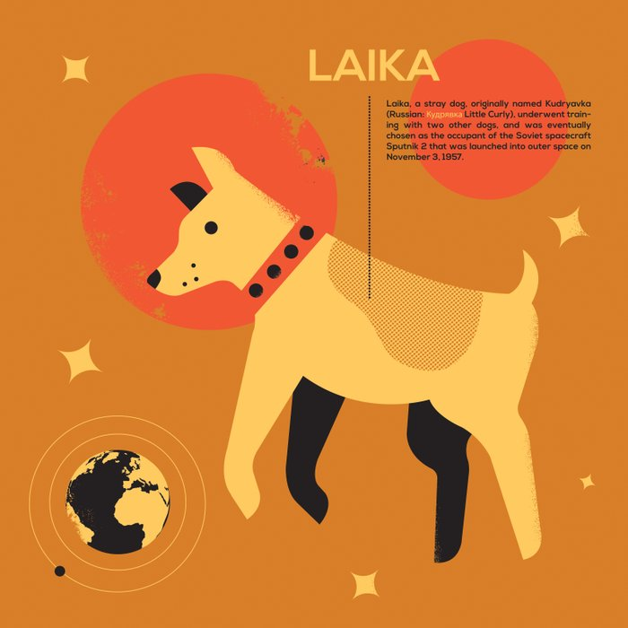 Laika ... Art Print by Adam Quest | Society6