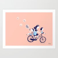 Mother on bicycle juggling kids Art Print