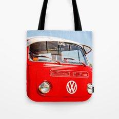 Red VW Bus Bold Print Tote Bag