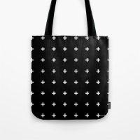 White Plus On Black /// … Tote Bag