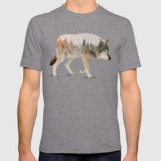 Wolf Mens Fitted Tee Tri-Grey SMALL