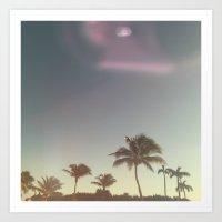 Sun Flare & Palm Trees Art Print