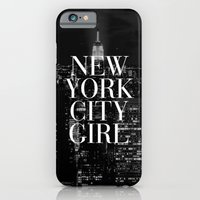 iPhone Cases featuring New York City Girl Black & White iPhone Case by RexLambo
