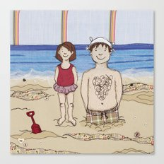 Embroidered Father and Daughter Beach Illustration Canvas Print