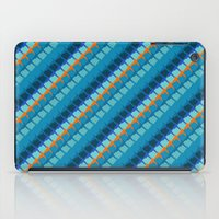Blue multicolor geometric pattern with diagonal lines iPad Case