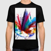 Dancing Peacock  Mens Fitted Tee Black SMALL