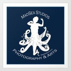 MadSea Nymph, white on blue Art Print