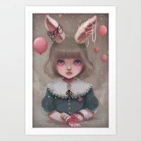 Juliette, Balloons & Pea… Art Print