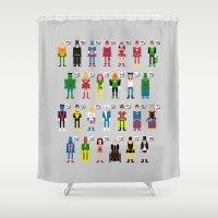 Pixel Superhero Alphabet 2 Shower Curtain