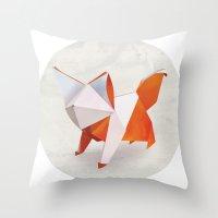 Origami Fox Throw Pillow