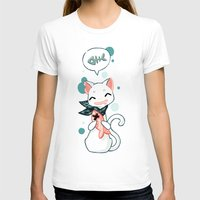 Cat and Fish 2 Womens Fitted Tee White SMALL