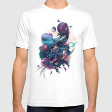 birds SMALL White Mens Fitted Tee