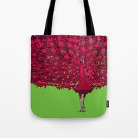 Peacock - Red Tote Bag
