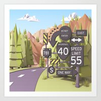 Hitchhiking Art Print