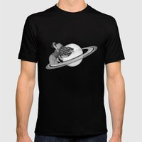 FLY ME TO THE SATURN Mens Fitted Tee Black SMALL