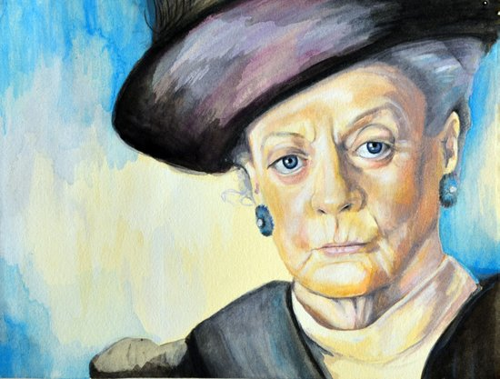 Portrait of Maggie Smith, Dowager Countess of Grantham, Downton Abbey  Art Print