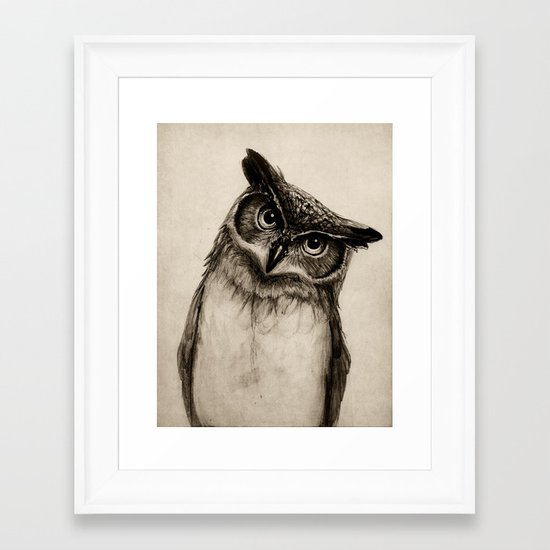 Owl Sketch Framed Art Print
