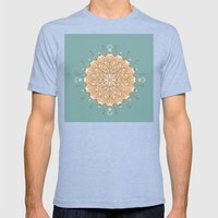 Sand and Turquoise Seashore Mandala Mens Fitted Tee Tri-Blue SMALL