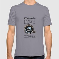 Love & Coffee Mens Fitted Tee Slate SMALL