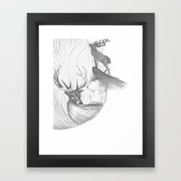 Stag and man Framed Art Print