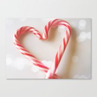 Candy Cane Heart Canvas Print