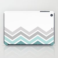 WHITE/ TEAL CHEVRON FADE iPad Case