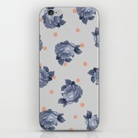 Blue Roses & Dots iPhone & iPod Skin