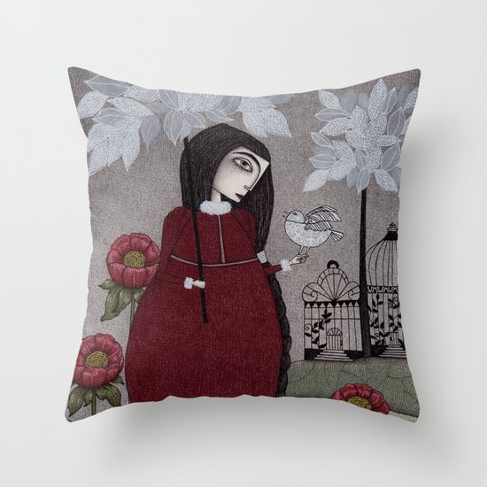 Winterbird, or Hope is a Thing With Feathers Throw Pillow