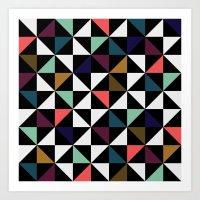 Triangle pattern (salmon & mint) Art Print