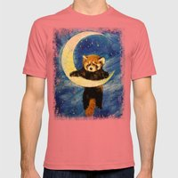 Red Panda Stars Mens Fitted Tee Pomegranate SMALL