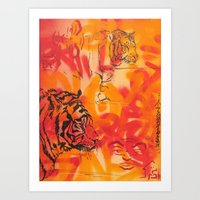 Double Tiger Medley Art Print