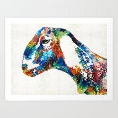 Colorful Goat Art By Sharon Cummings Art Print