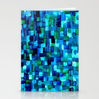 Abstract Tiles of Blue and Green Stationery Cards