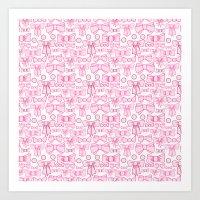 bows pink Art Print