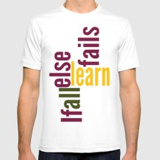 Learn SMALL White Mens Fitted Tee