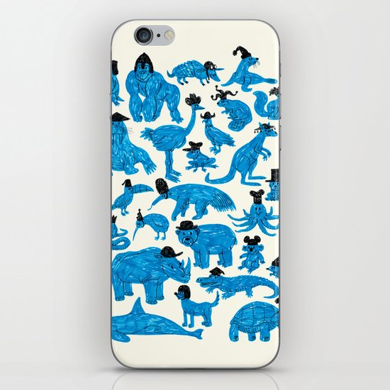 Blue Animals Black Hats iPhone & iPod Skin