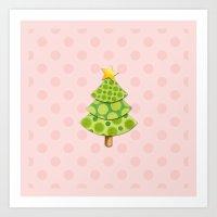 Pink Polka Dots Christmas Art Print